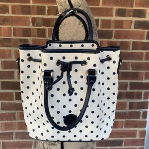 Liz Claiborne polka dot bucket bag